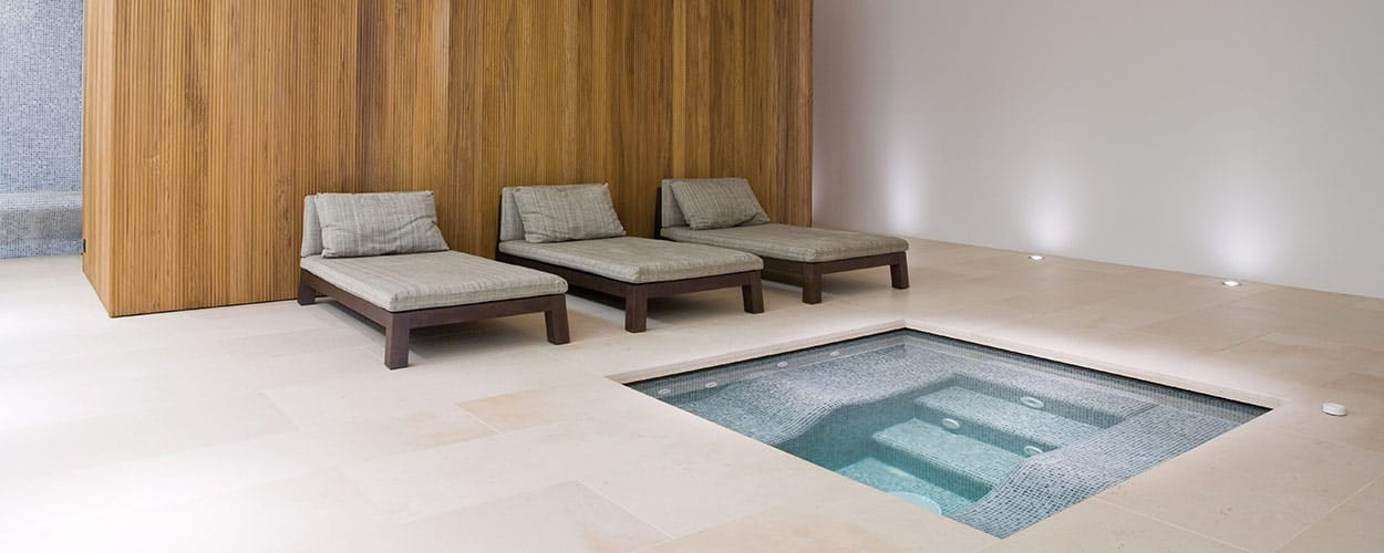 Spa using Nozay Honed Limestone and bespoke stone pieces
