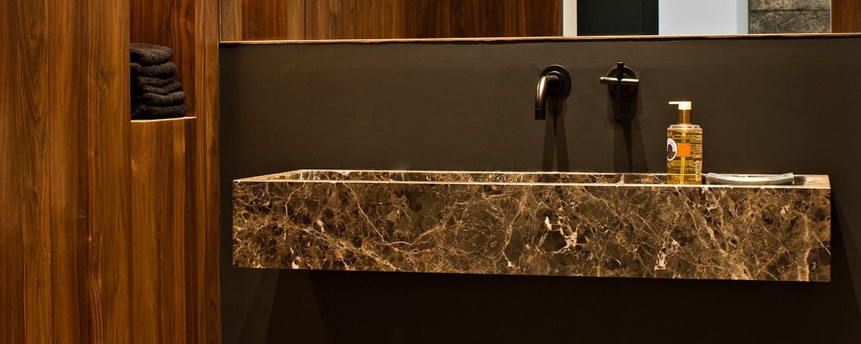 Marron Emperador hand carved basin