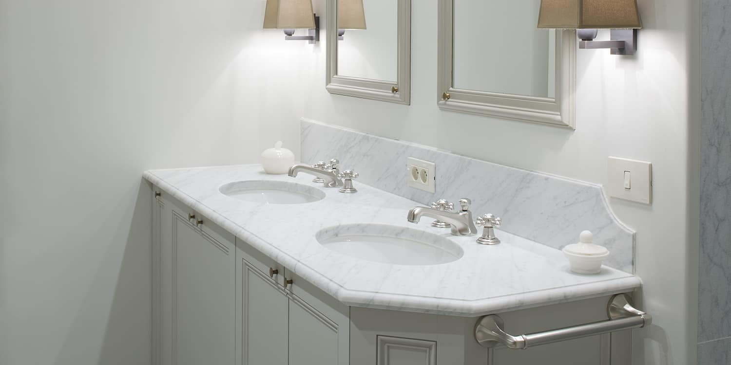 Carrara Bianco C vanity with a bullnosed ogee finish
