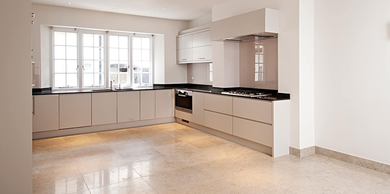 White Kitchen Beige Tile Floor