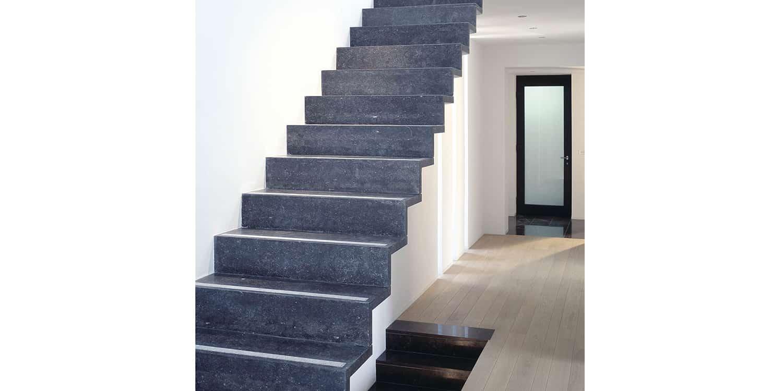 Belgian Blue honed staircase