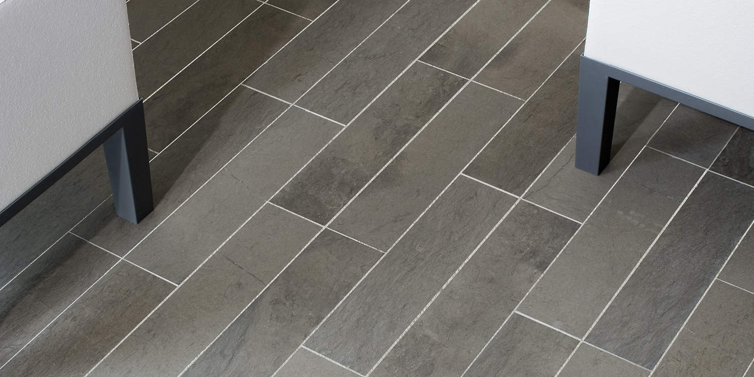 Gris Fousanna honed flooring, with broken brick bond