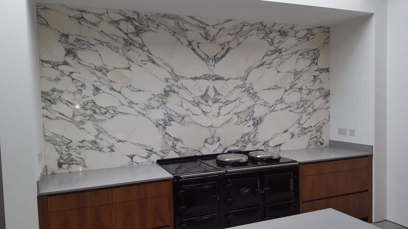 Silestone Kensho and Arabascato Upstands Bookmatch