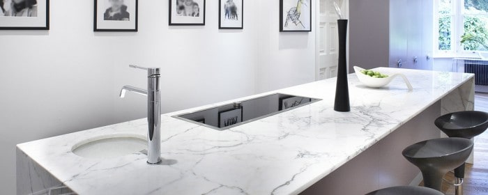 Statuario Venato marble kitchen island